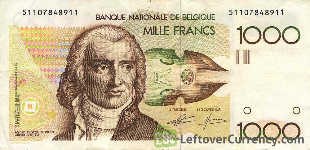 1000 Belgian Francs banknote (Andre Gretry)
