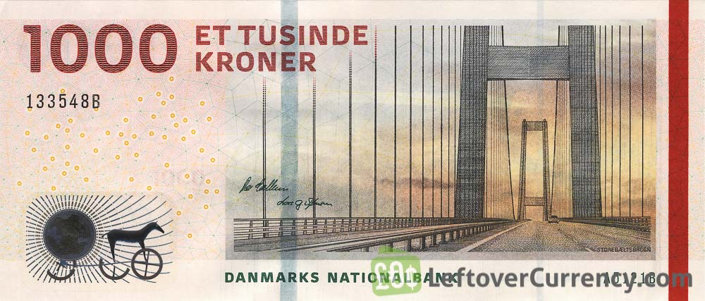 1000 Danish Kroner banknote (Bridges of Denmark series)
