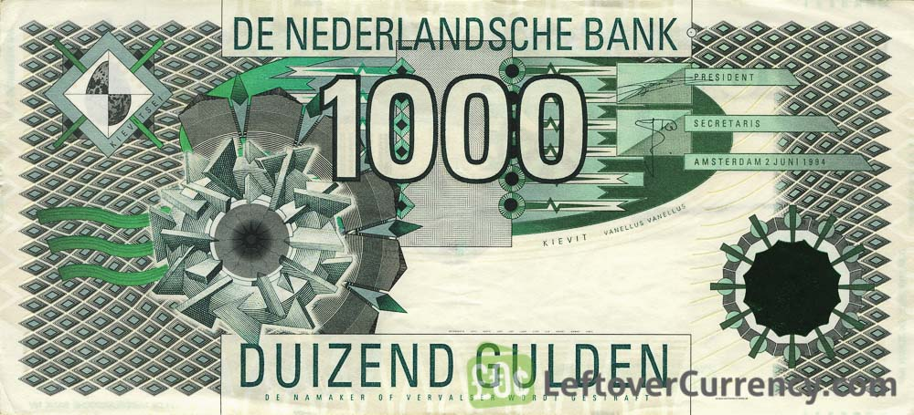 1000 Dutch Guilders banknote (Kievit 1994)