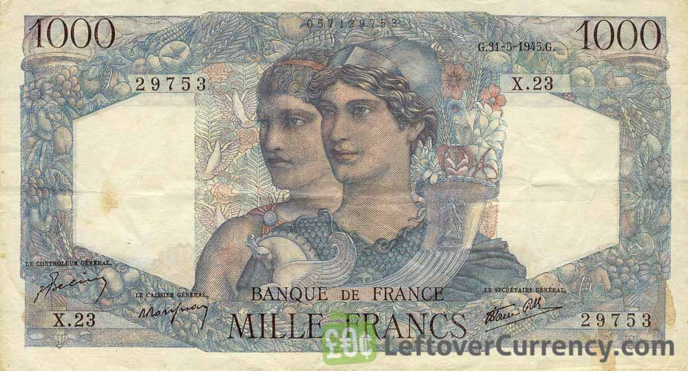1000 French Francs banknote (Minerva et Hercules)