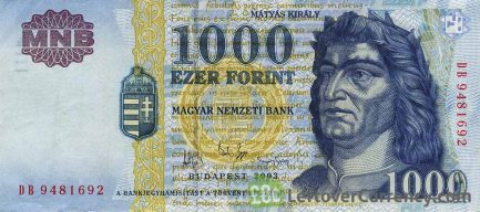 1000 Hungarian Forints banknote (King Matyas type MNB)