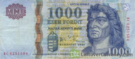 1000 Hungarian Forints banknote (King Matyas)