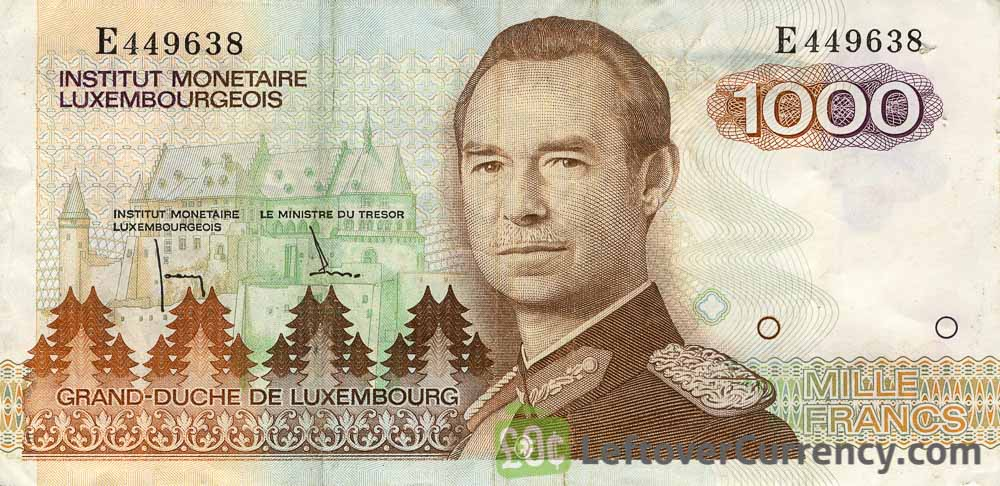 1000 Luxembourgish Francs banknote