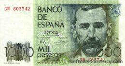 1000 Spanish Pesetas banknote (Benito Perez Galdos)