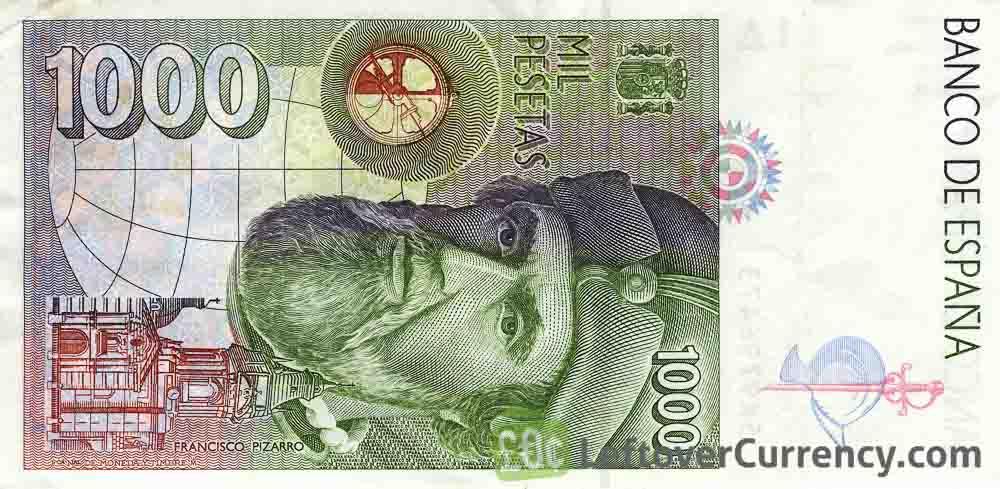 1000 Spanish Pesetas banknote (Hernan Cortes)