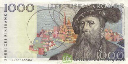 1000 Swedish Kronor banknote (Gustav Vasa issue 1989)