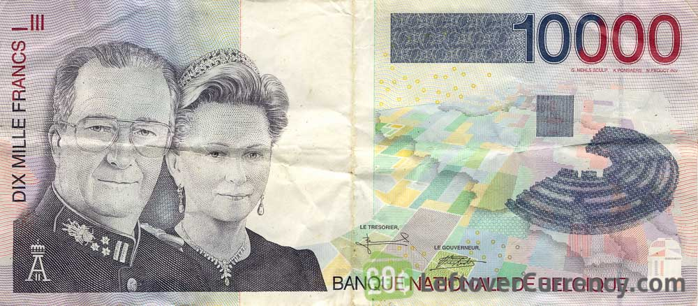 10000 Belgian Francs banknote (King Albert II and Queen Paola)