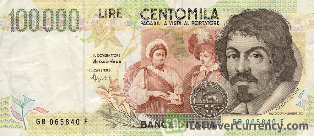 100000 Italian Lire banknote (Caravaggio)