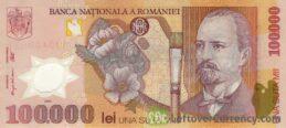 100000 Romanian Old Lei banknote (Nicolae Grigorescu)