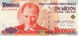 10000000 Turkish Old Lira banknote (7th emission group 1970)