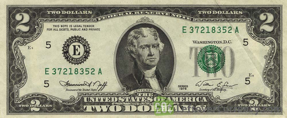 2 American Dollars banknote
