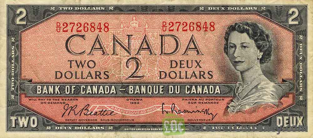 2 Canadian Dollars banknote series 1954