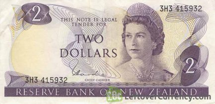 2 New Zealand Dollars banknote series 1967