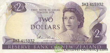 2 New Zealand Dollars banknote series 1967