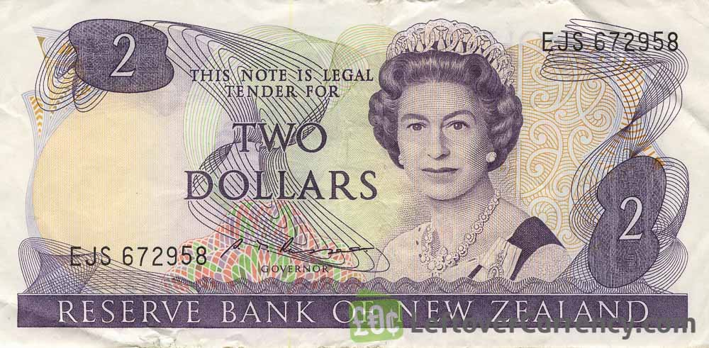 2 New Zealand Dollars banknote series 1981