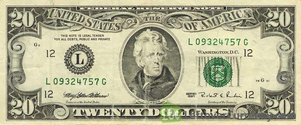 20 American Dollars banknote series 1963