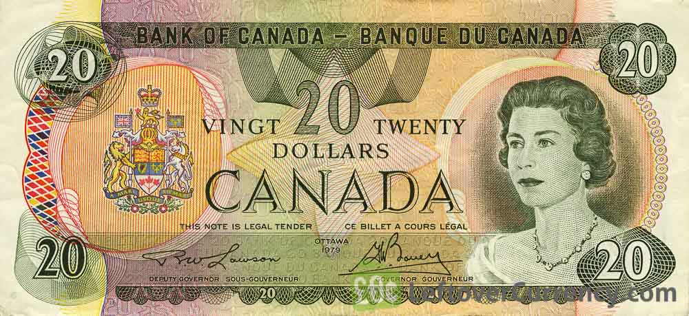 20 Canadian Dollars banknote (Lake Moraine Scenes of Canada)