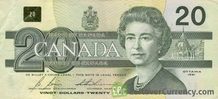 20 Canadian Dollars banknote series 1993 Birds of Canada