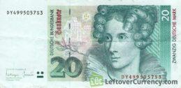 20 Deutsche Marks banknote (Annette Von Droste-Hulshoff)