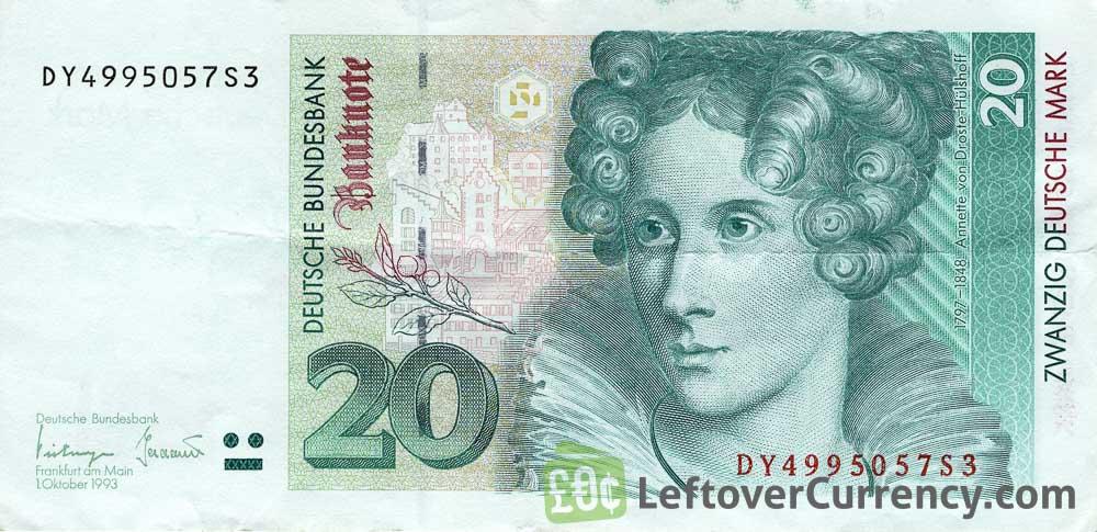 20 Deutsche Marks Banknote Annette Von Droste Hulshoff