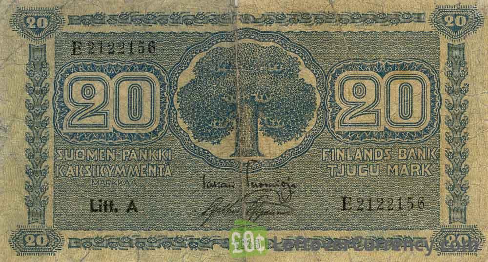 20 Finnish Markkaa banknote (1922)