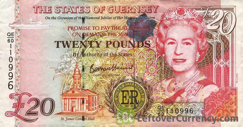 20 Guernsey Pounds banknote (St. James Concert Hall)