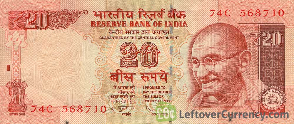 20 Indian Rupees banknote (Gandhi)