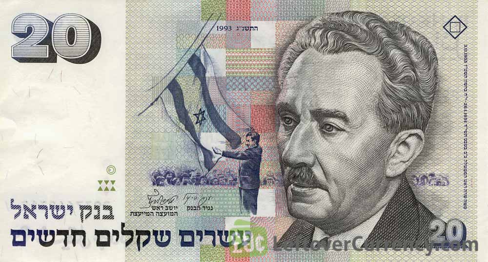 20 Israeli New Sheqalim banknote (Herzlya High School)