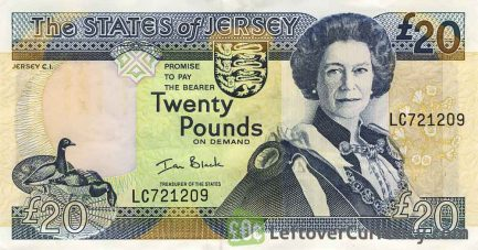 20 Jersey Pounds banknote (St. Ouen's Manor)