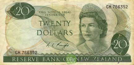 20 New Zealand Dollars banknote series 1967