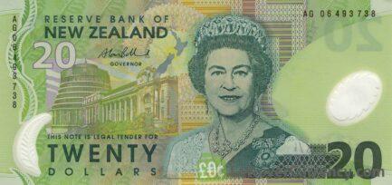 20 New Zealand Dollars banknote series 1999