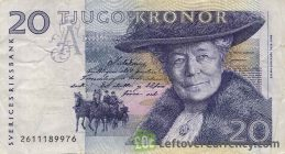 20 Swedish Kronor banknote (Selma Lagerlof issue 1997)