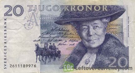 20 Swedish Kronor banknote (Selma Lagerlof issue 1997)