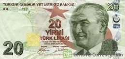 20 Turkish Lira banknote (9th emission group 2009)