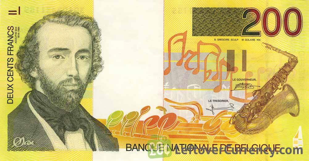 200 Belgian Francs banknote (Adolphe Sax)