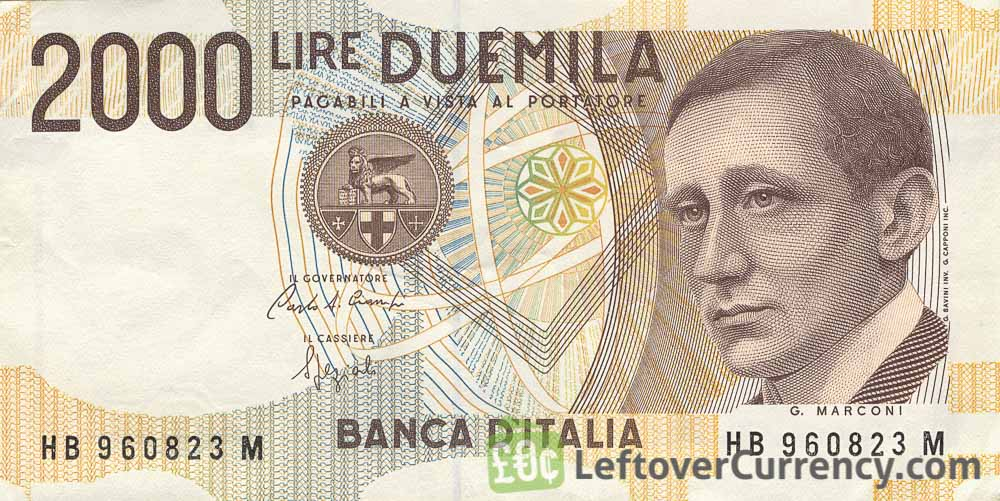 2000 Italian Lire banknote (Guglielmo Marconi)