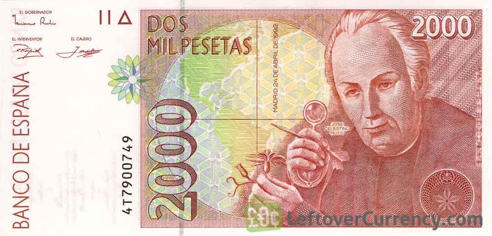 2000 Spanish Pesetas banknote (Jose Celistino Mutis)