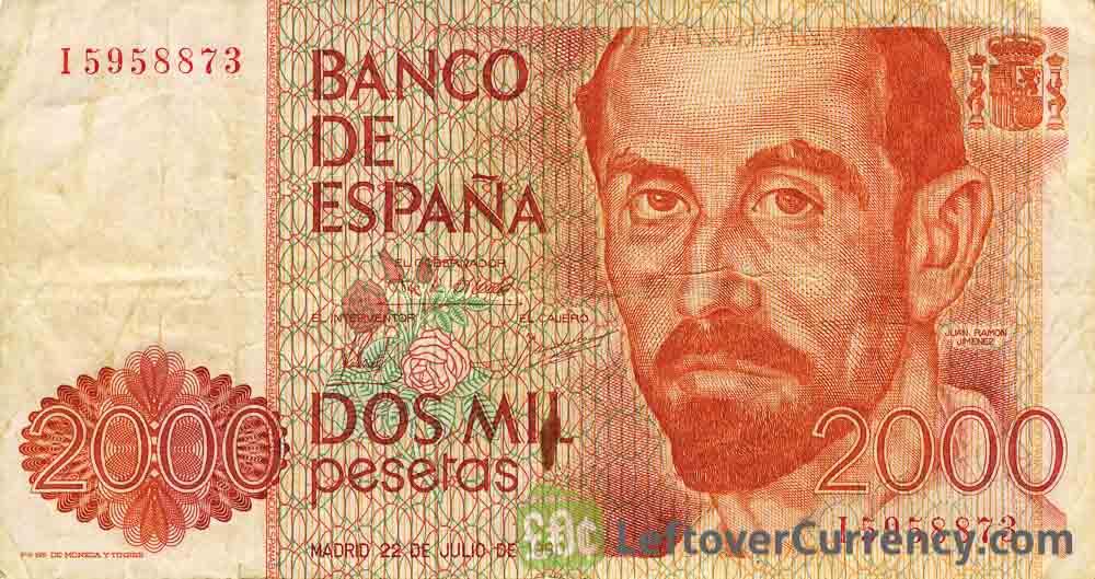 2000 Spanish Pesetas banknote (Juan Ramon Jimenez)