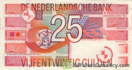 25 Dutch Guilders banknote (Roodborstje 1989)