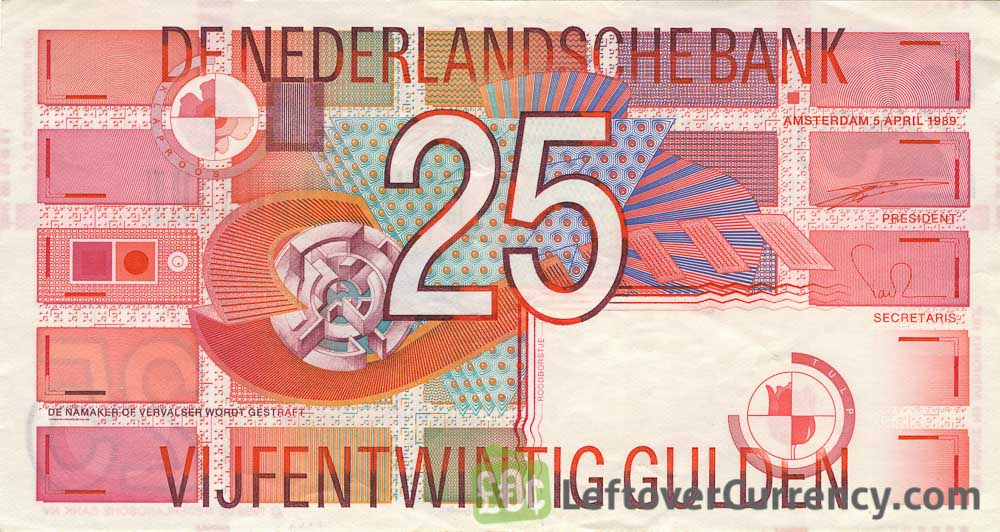 25 Dutch Guilders banknote (Roodborstje 1989)