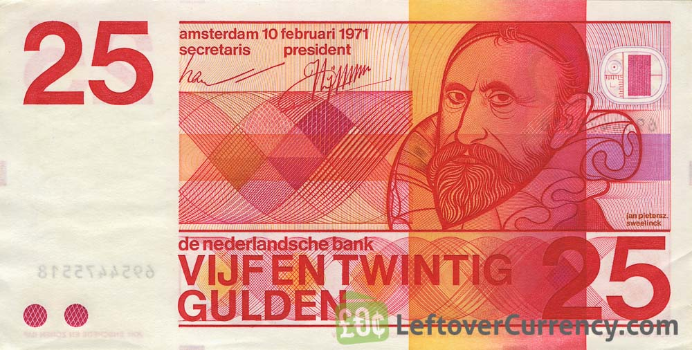 25 Dutch Guilders banknote (Sweelinck 1971)