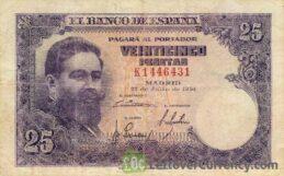 25 Spanish Pesetas banknote (Isaac Albeniz)