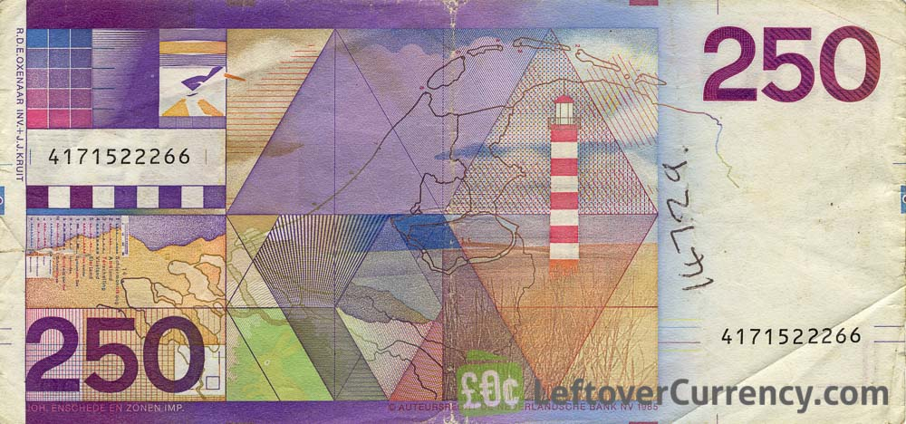 250 Dutch Guilders banknote (Lighthouse 1985)