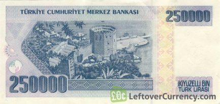 250000 Turkish Old Lira banknote (7th emission group 1970)