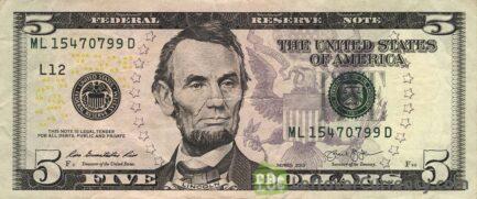 5 American Dollars banknote
