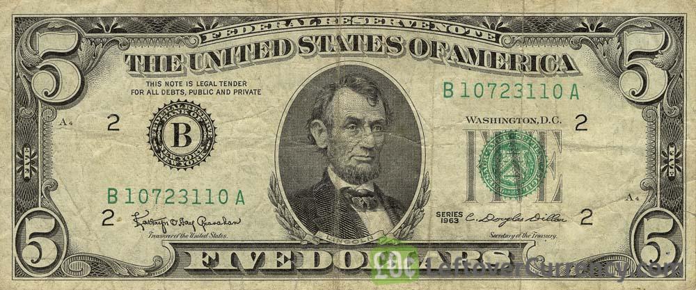 5 American Dollars banknote series 1950