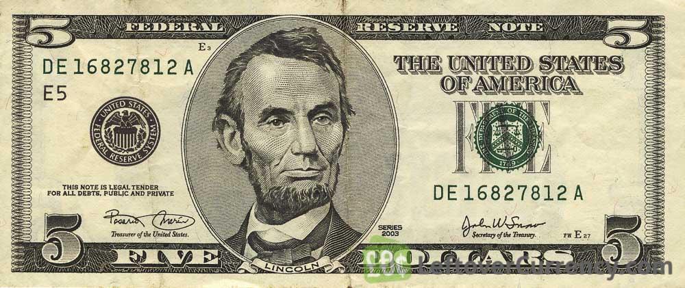5 American Dollars banknote series 2000