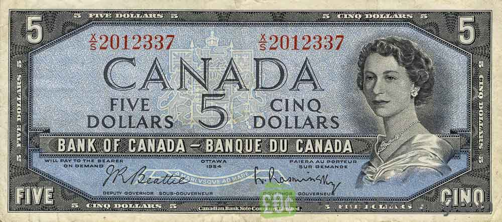 5 Canadian Dollars banknote series 1954
