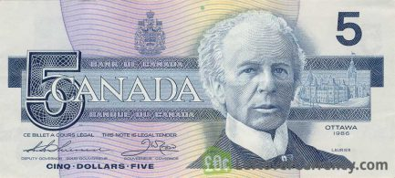 5 Canadian Dollars banknote series 1986 Birds of Canada