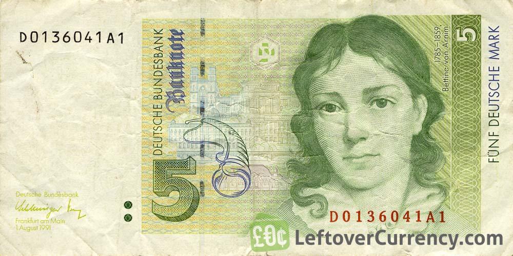 5 Deutsche Marks Banknote Bettina Von Arnim